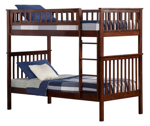 Boris Walnut Twin over Twin Bunk Beds