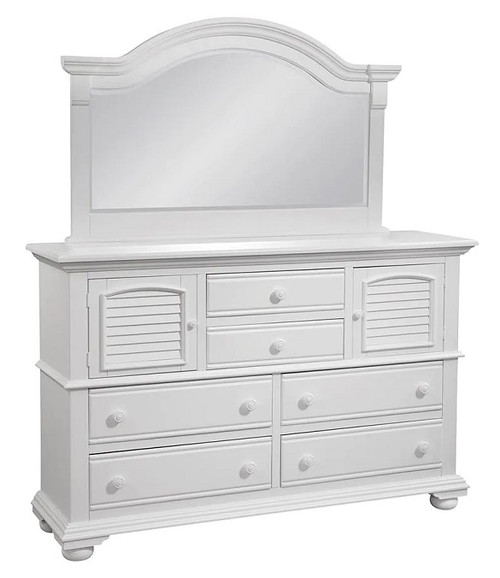 Seabrook Cottage White High Dresser shown with optional Landscape Mirror