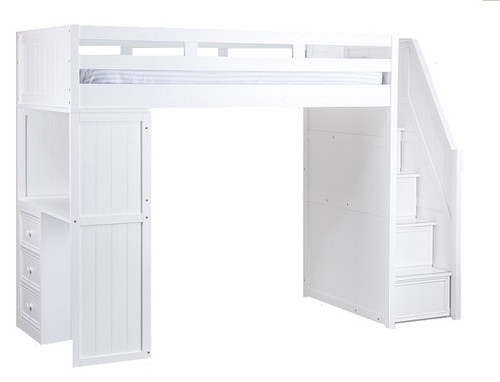 Post White Twin Loft Bed with Stairs and Desk