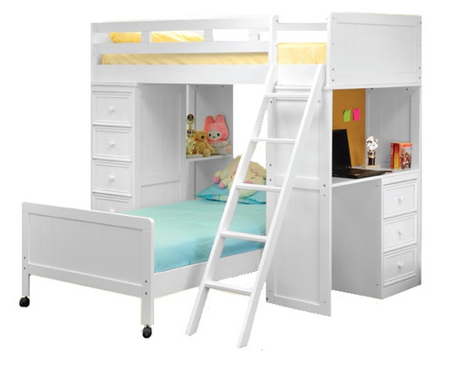 Beatrice White Twin Loft Bed with Desk and Storage