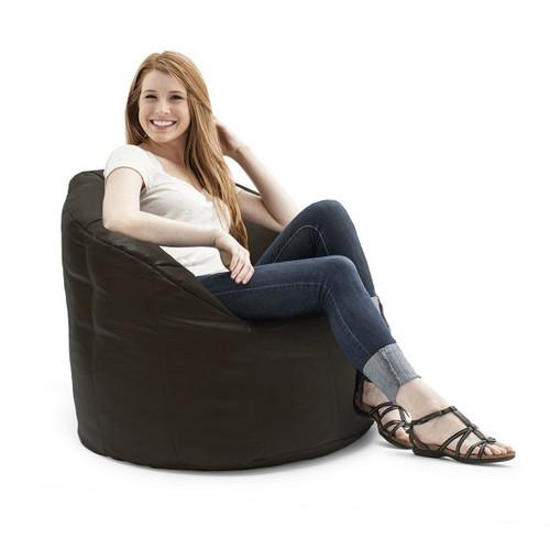 Brown Vegan Leather Bean Bag Lounge Chair