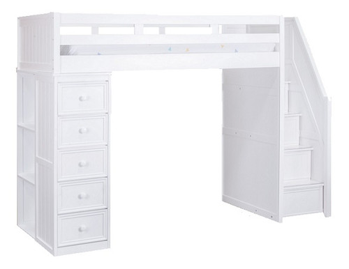 Post White Twin Loft Bed with Stairs and Storage