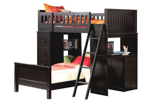 Delta Black Twin Loft Bed with Desk and Storage shown with Optional Twin Size Bottom Bed