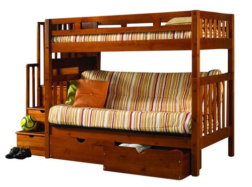 Barker Island Honey Twin Wood Futon Bunk Bed with Stairs