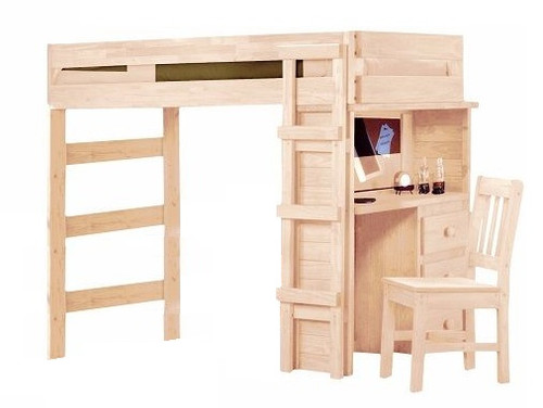 Rush River Unfinished Extra Long Twin Loft Bed with Desk