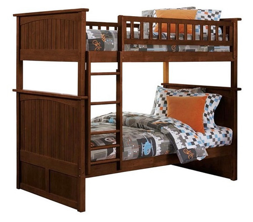 Reese Walnut Cottage Bunk Beds Twin over Twin size