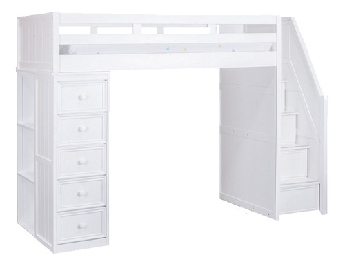 Post White Full Size Loft Bed with Stairs and Storage