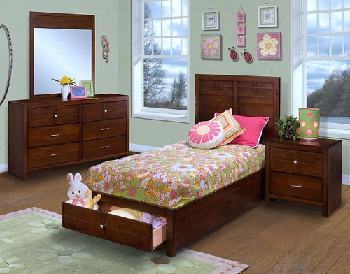 Langdon Cherry Kids Beds with Storage in room collection