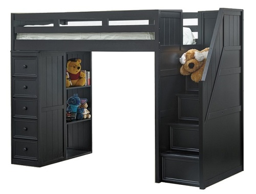 Thurston Black Twin Loft Bed with Stairs and Storage