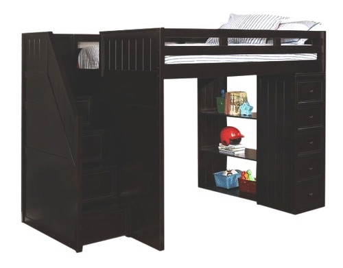 Thurston Black Full Size Loft Bed with Stairs and Storage