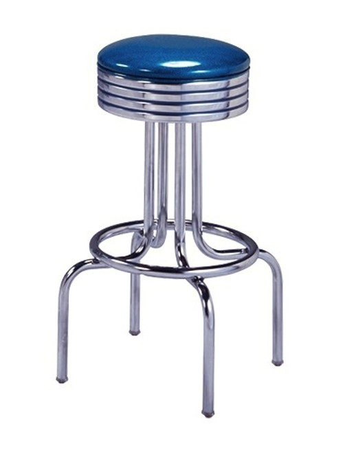 Helene Retro Swivel Bar Stool shown with Zodiac Blue Vinyl and Optional Blue Grooved Seat Ring Stripes
