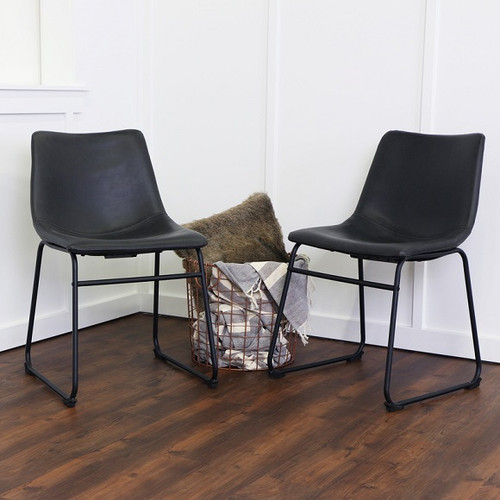 Antonio Dining Chairs Black Faux Leather in room