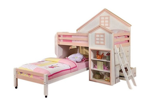 Jocelyn Pink and White Playhouse Loft Bed