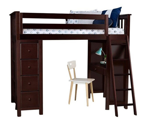 Silas Espresso Twin Loft Bed with Desk and Storage