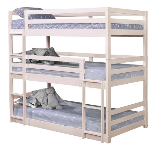 Wyatt White Twin 3 Tier Bunk Bed