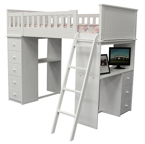 Kohler White Twin Loft Bed with Desk and Storage