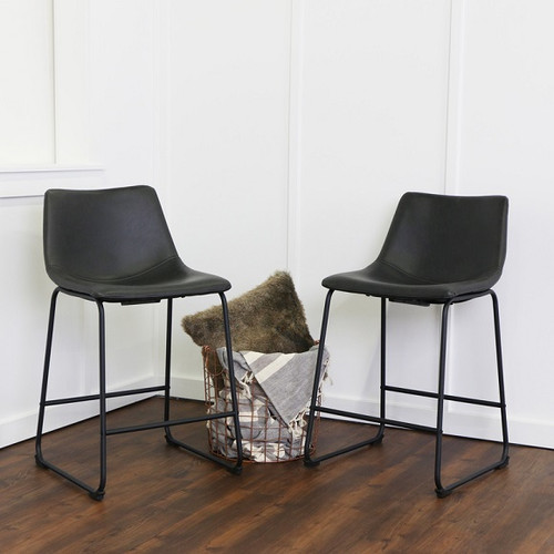 Antonio Counter Stools Black Faux Leather in room