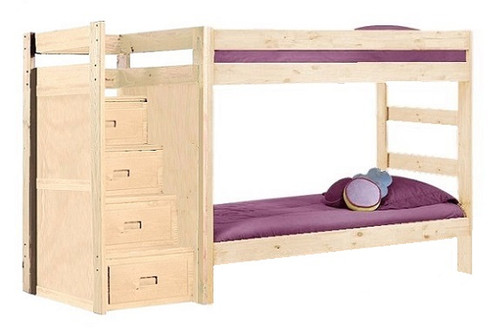 Arlington Unfinished Extra Long Twin over Twin Bunk Beds with Stairs
