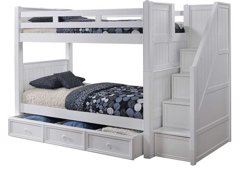 Beatrice White Twin over Twin Bunk Beds with Stairs