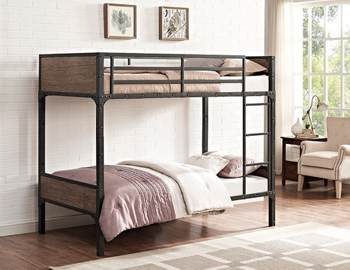 Meyers Rustic Twin over Twin Bunk Bed in room
