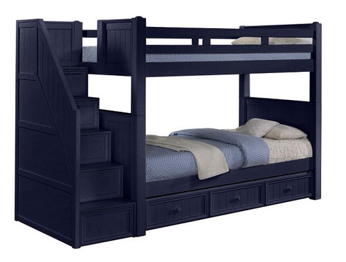 Annapolis Blue Twin Bunk Beds with Stairs
