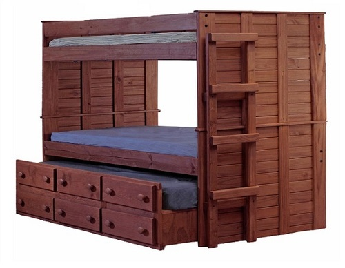 Haverhill Mahogany XL Twin Bunk Bed with Trundle