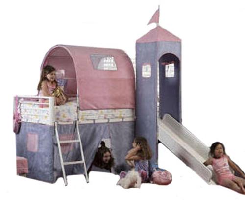 Precious Princess Twin Castle Loft Bed with Slide