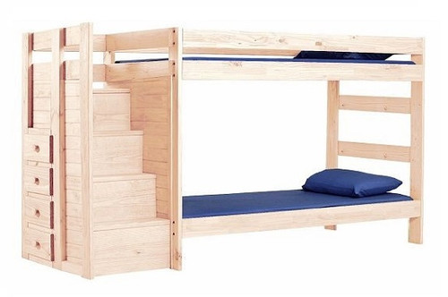Hemet Unfinished Twin XL Bunk Beds with Steps