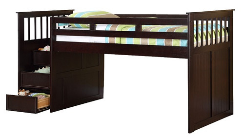 Foster Espresso Twin Junior Loft Bed with Stairs