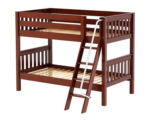 Stella Chestnut Twin over Twin Low Bunk Beds for Kids Slatted Ends