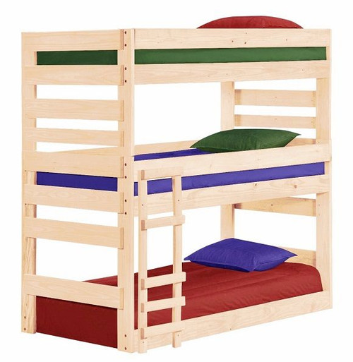 Cass County Unfinished Twin XL 3 Bed Bunk Bed