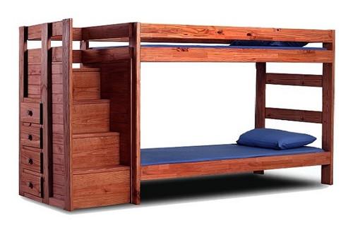 Hemet Mahogany Twin XL Bunk Beds with Steps
