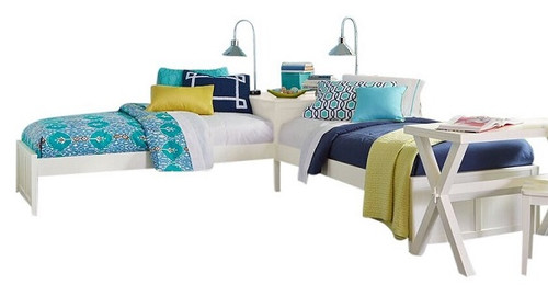 Caitlin White Corner Twin Beds