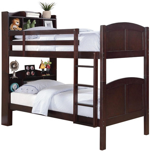 Simmons Twin over Twin Bookcase Bunk Bed in Chestnut