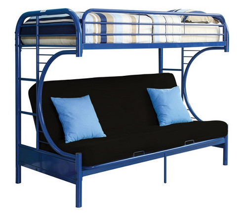 Cabot Blue Twin XL over Queen Futon Bunk Bed