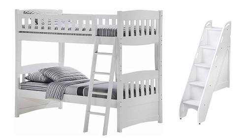 Hollywood White Twin over Twin Bunk Bed with Steps