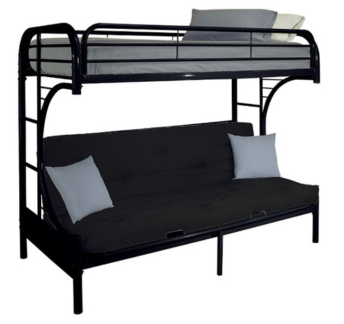 Cabot Black Twin XL over Queen Futon Bunk Bed
