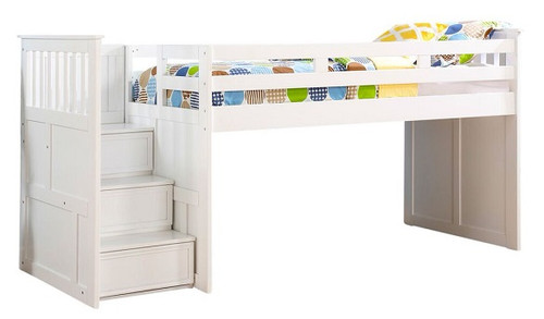 Beatrice White Twin Junior Loft Bed with Stairs