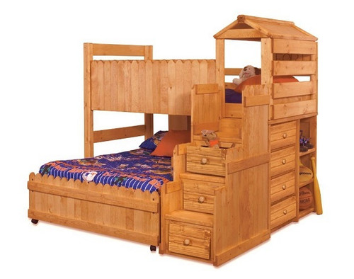 Camp Wildwood Amber Twin Fun Fort Loft Bed with Stairs shown with Optional Bottom Full Bed on Casters