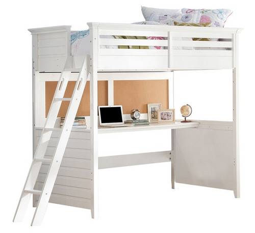 Trixie White Twin Loft Bed with Desk