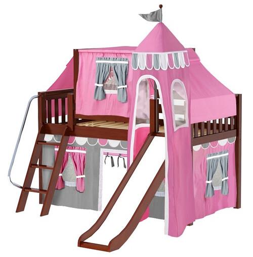 Anastasia's Chestnut Twin Girls Castle Loft Bed with Slide-Slatted Ends