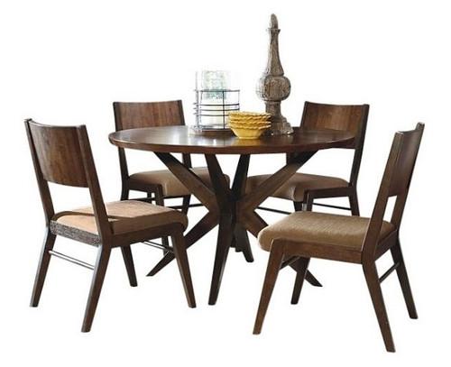 Metropolitan Hazelnut Round Dining Table Set
