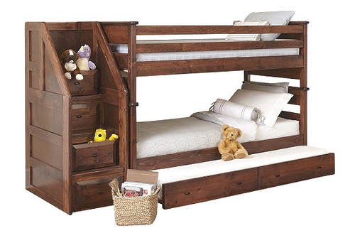 McCormick Road American Chestnut Twin over Twin Bunk Beds with Stairs shown with Optional Twin Trundle