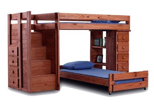 Hemet Mahogany Twin L Shaped Storage Loft Bed with Steps