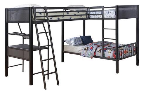 Jakks Metal Twin L Shaped Triple Bunk Bed