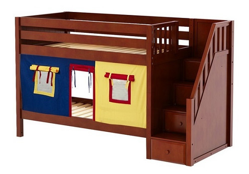 Caleb's Chestnut Playhouse Kids Twin Size Bunk Beds with Stairs