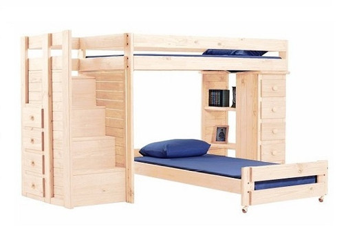 Hemet Unfinished Twin L Shaped Storage Loft Bed with Steps