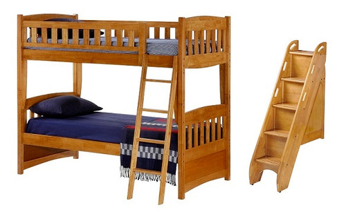 Kirkwood Oak Twin over Twin Bunk Bed with Steps