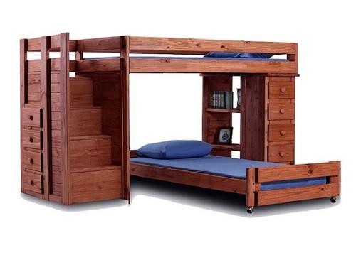 Hemet Mahogany XL Twin L Shaped Storage Loft Bed with Steps