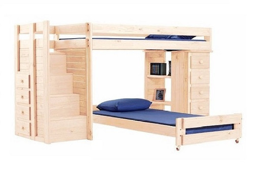 Hemet Unfinished XL Twin L Shaped Storage Loft Bed with Steps